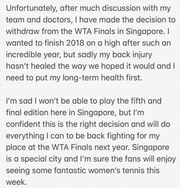 Simona Halep's note for her fans as posted on Twitter