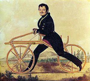 Karl Drais (1820), inventor de la Draisiana (Wikipedia, DP)
