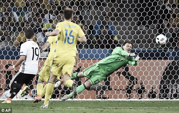 Above: Andriy Pyatov saving Julian Draxler's shot in Germany's 2-0 win over Ukraine | Photo: AP