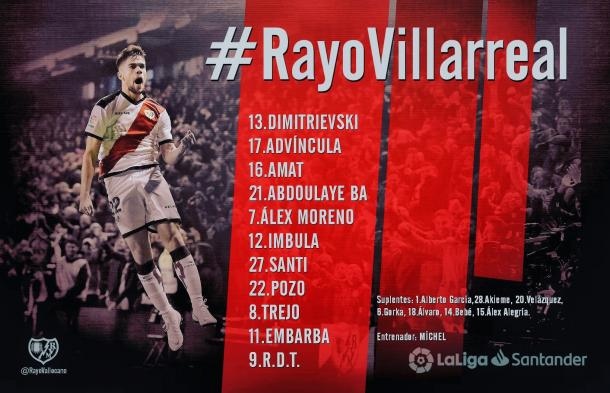 Once inicial del Rayo / Foto: @RayoVallecano