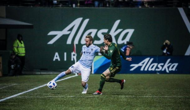 Johnny Russell durante el partido ante los Timbers   Foto: SKC FC