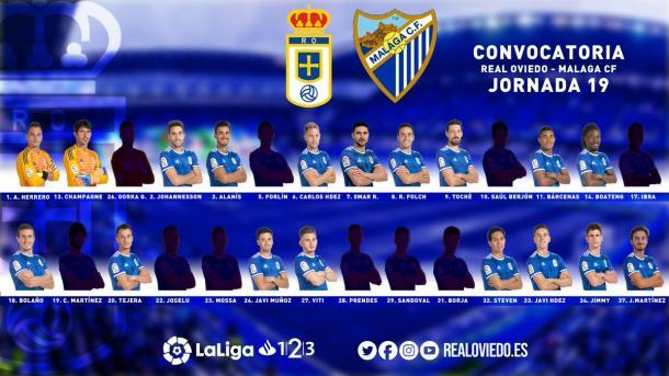 Convocatoria para el Málaga | Imagen: Real Oviedo