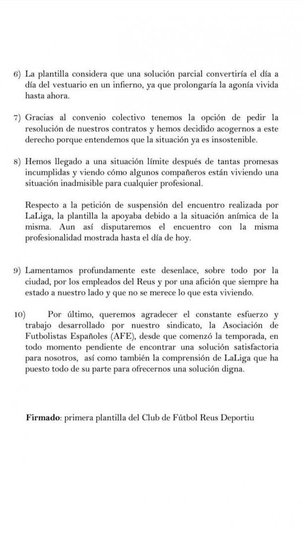 Página 2 del comunicado | Fuente: Twitter Ángel Bastos
