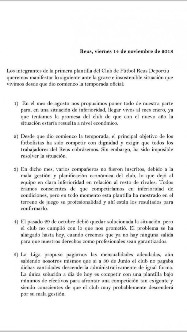 Página 1 del comunicado | Fuente: Twitter Ángel Bastos