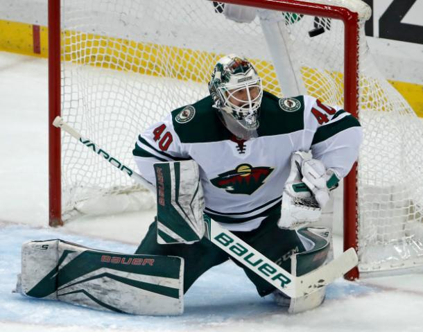 It was an early shower for the Wild goalie Devan Dubnyk, who got pulled after allowing four goals. (Photo: Pioneer Press)