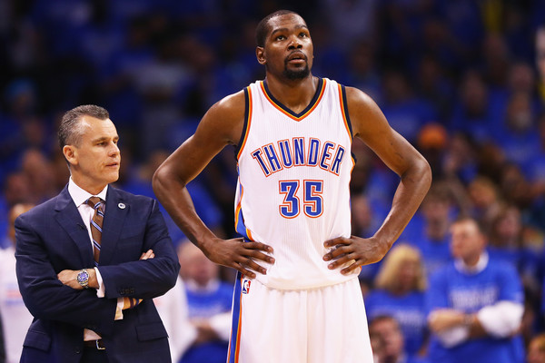 Kevin Durant left Billy Donovan and the Thunder to pursue the elusive NBA title. May 27, 2016 - Source: Maddie Meyer/Getty Images North America)
