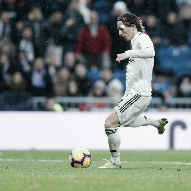 Modric, en el momento previo a su gol. Fuente: @realmadrid
