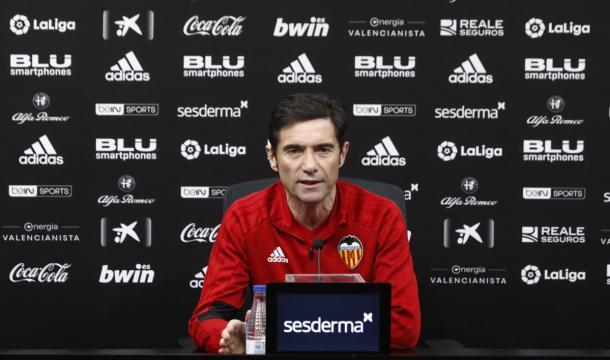 Marcelino en rueda de prensa | Foto: Valencia CF