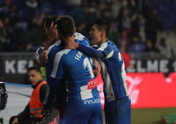Los jugadores locales festejando el 2-1 / Foto: RCD Espanyol