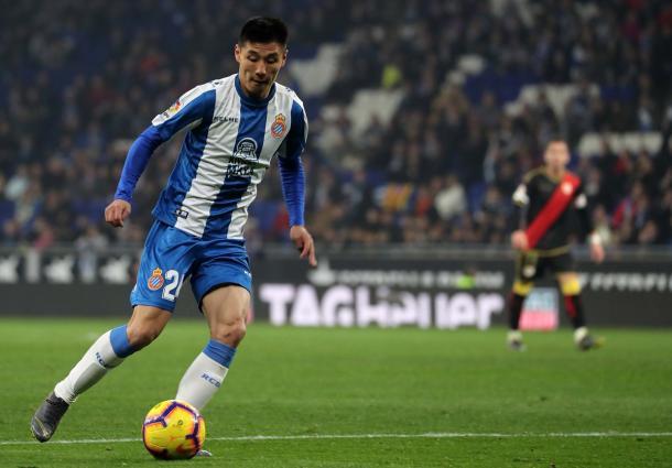 Who Lei fue uno de los pericos más activos / Foto: RCD Espanyol