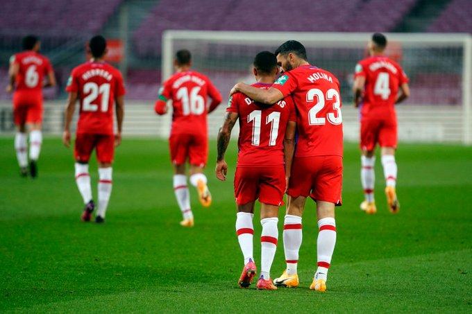 Machís y Molina, los goleadores en el Camp Nou | Foto: Granada CF