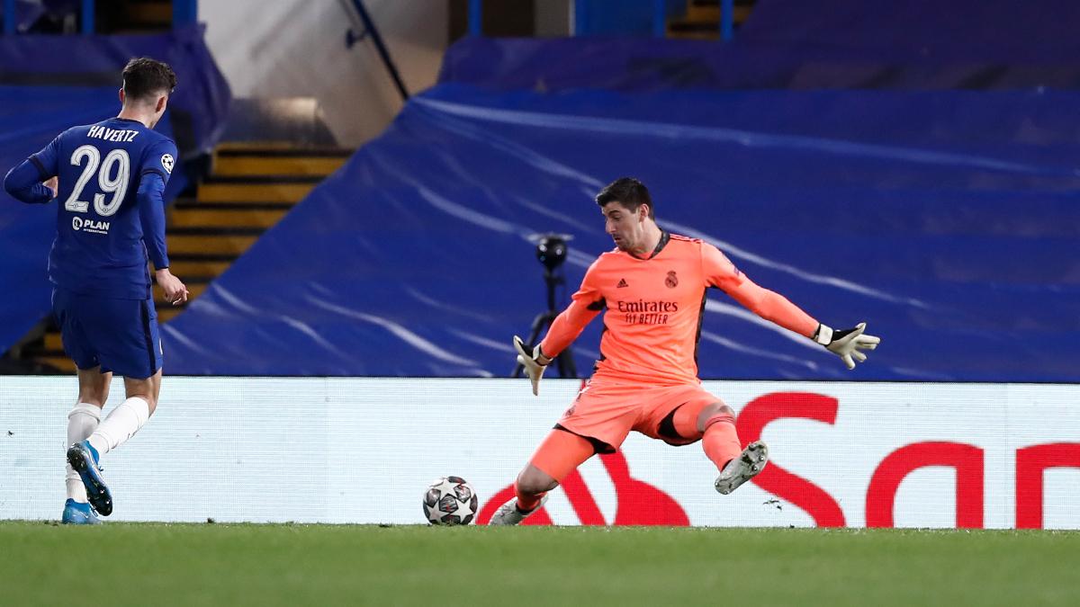 Uma das defesas cara a cara de Courtois (Foto: Divulgação/Real Madrid)
