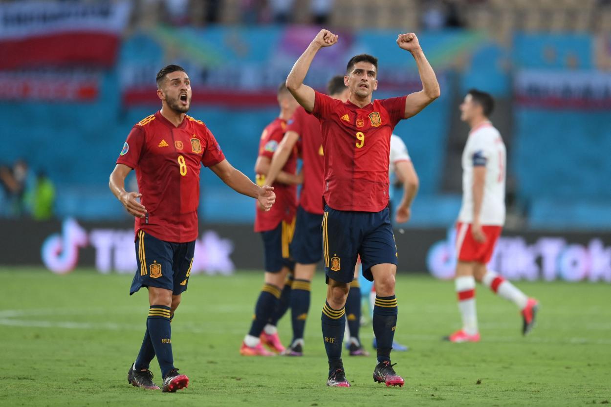 Koke y Gerard Moreno celebran el 1-0 / FOTO: UEFA