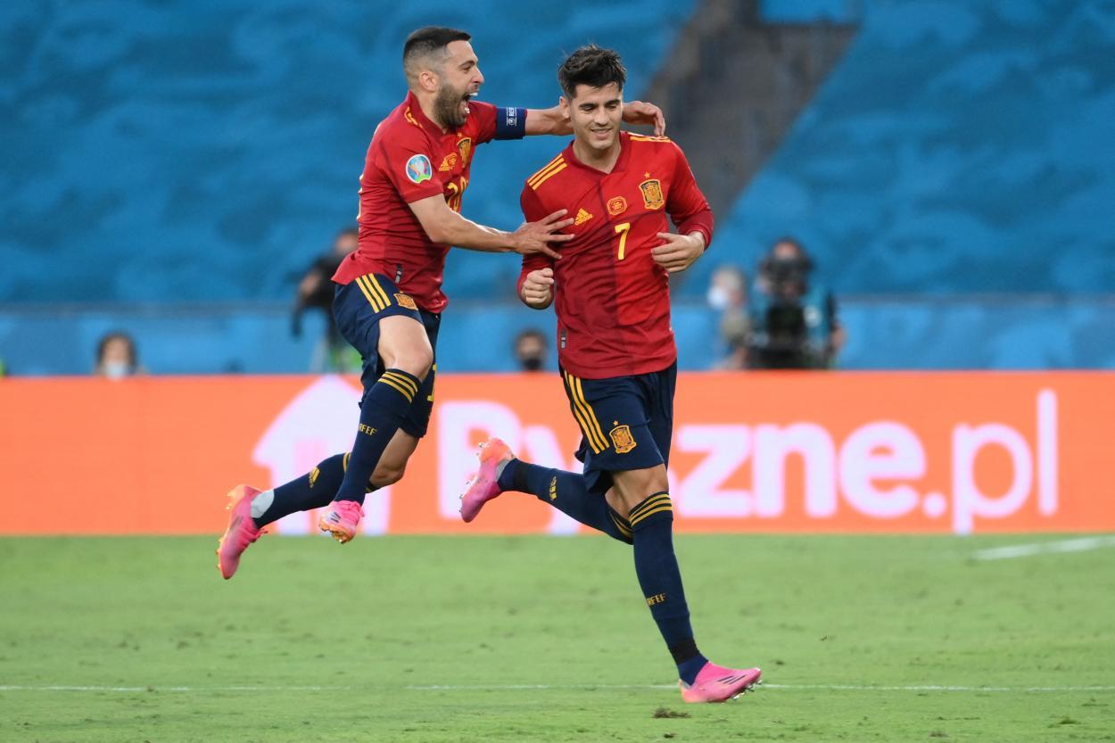 Jordi Alba y Morata celebrando el 1-0 / FOTO: UEFA
