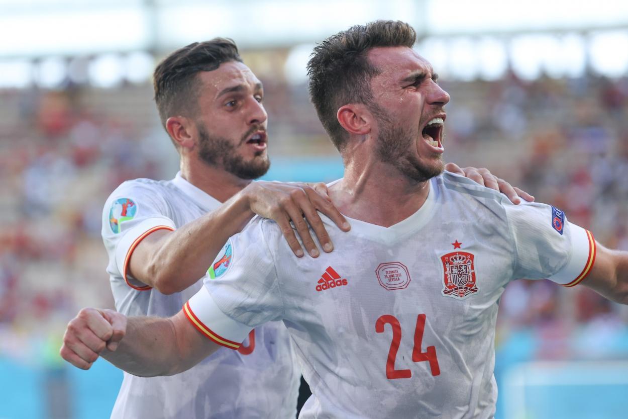 Laporte y Koke celebran el 0-2 / FOTO: Selección Española