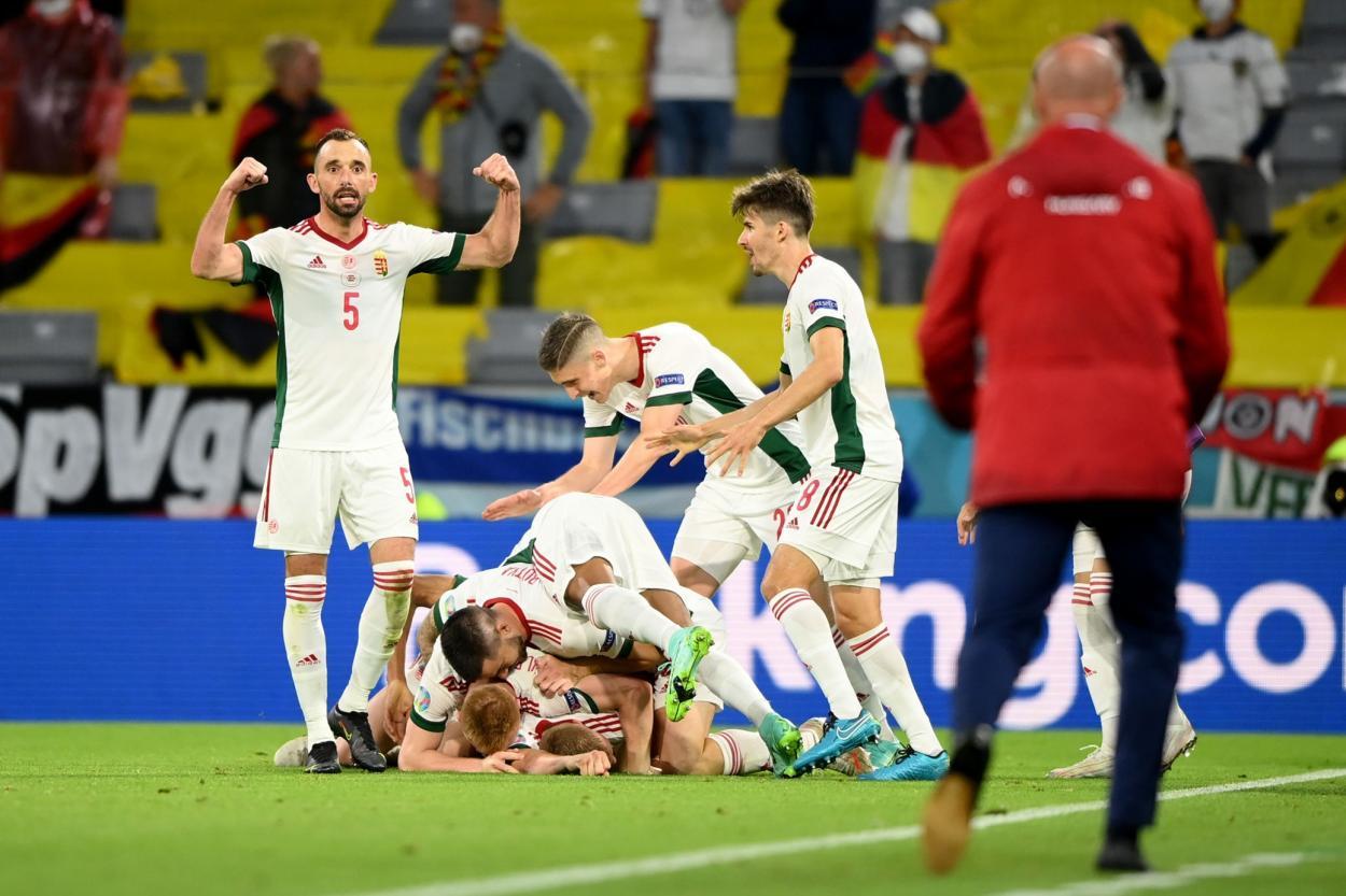 Hungría celebra el 1-2 / FOTO: UEFA