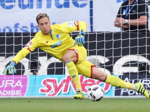 Baumann denied Leipzig several chances in the first half. | Photo: Kicker/Getty
