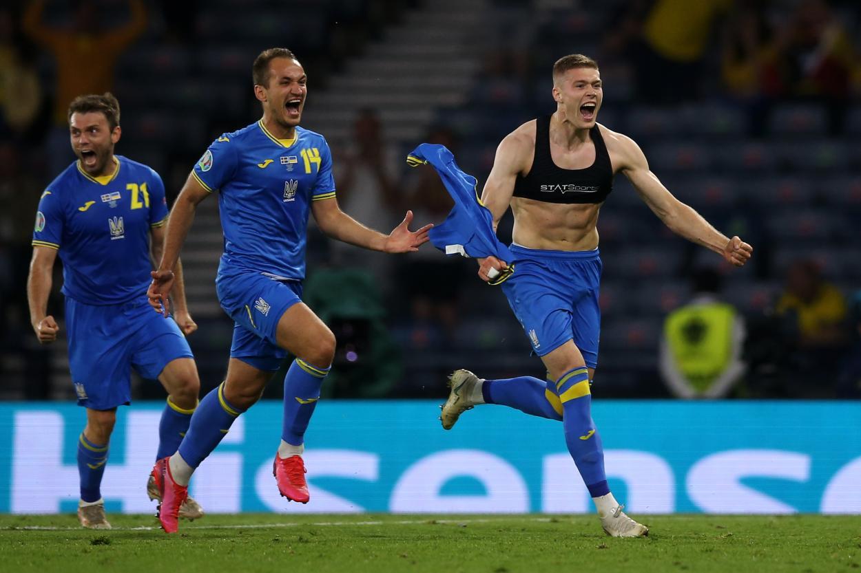 Ucrania celebrando el gol que les dio la victoria / Foto: UEFA