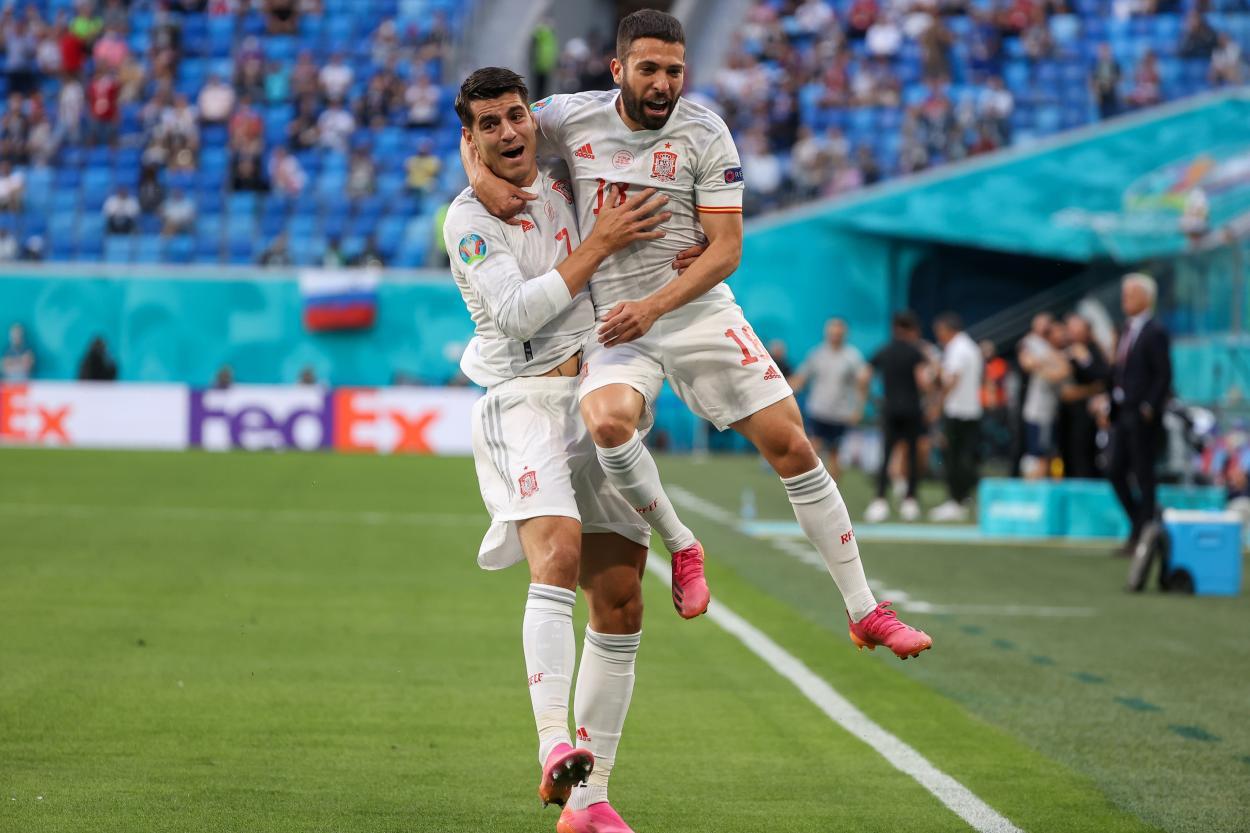Morata y Jordi Alba celebran el 0-1/ FOTO: UEFA