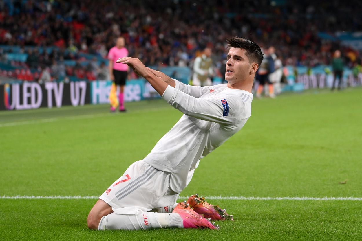 Morata celebra el 1-1 / FOTO: UEFA