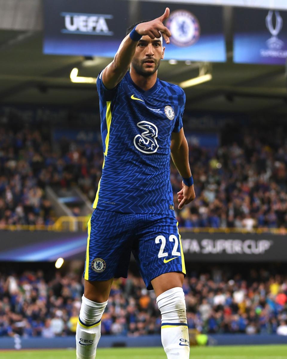 La celebración de Hakim Ziyech después de anotar su gol en el encuentro / Fuente: Chelsea