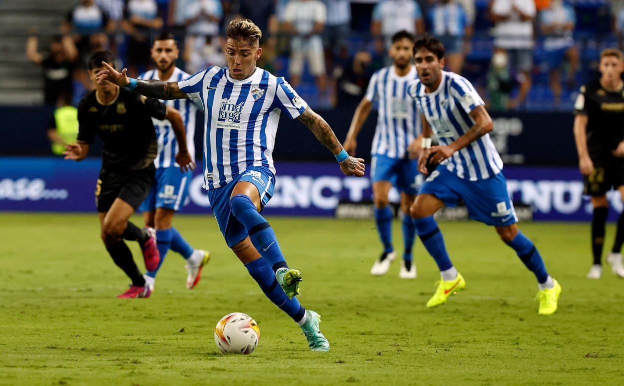 Brandon en el partido frente al Alcorcón / Fuente: Málaga CF
