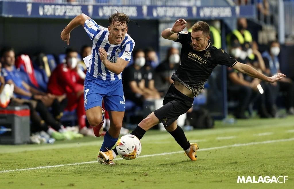 Paulino en el partido frente al Alcorcón / Fuente: Málaga CF