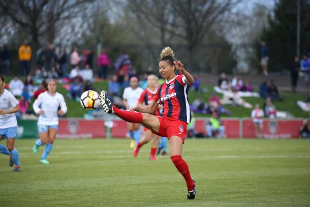 Washington defender Estelle Johnson had another great game and helped lock down the tie from the back line. | Photo courtesy of the Washington Spirit