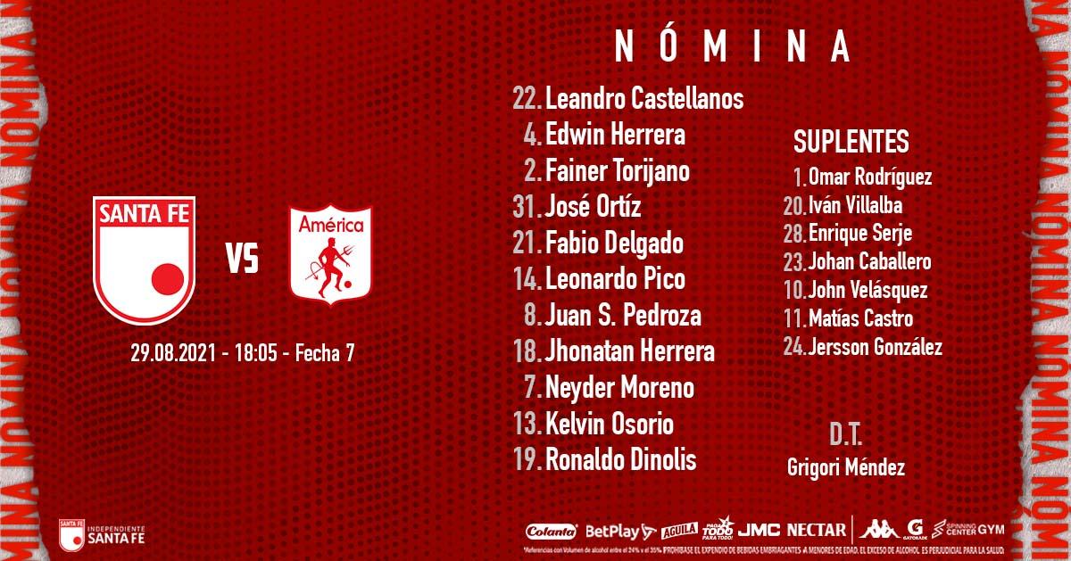 La nómina titular de <strong><a  data-cke-saved-href='https://vavel.com/colombia/futbol-colombiano/2021/08/27/santa-fe/1083817-jonathan-herrera-hicimos-las-cosas-bien.html' href='https://vavel.com/colombia/futbol-colombiano/2021/08/27/santa-fe/1083817-jonathan-herrera-hicimos-las-cosas-bien.html'>Santa Fe</a></strong>. Imagen: <strong><a  data-cke-saved-href='https://vavel.com/colombia/futbol-colombiano/2021/08/22/santa-fe/1083140-alex-mejia-el-escudero-de-santa-fe.html' href='https://vavel.com/colombia/futbol-colombiano/2021/08/22/santa-fe/1083140-alex-mejia-el-escudero-de-santa-fe.html'>Santa Fe</a></strong>