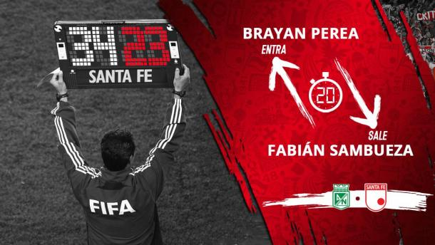 La imagen que señala el momento del cambio obligado por la lesión de Sambueza ante Atético Nacional por Copa Aguila. Imagen: @SantaFe