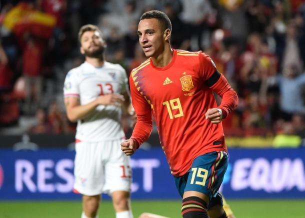Rodrigo Moreno celebrando su doblete | Foto: UEFA
