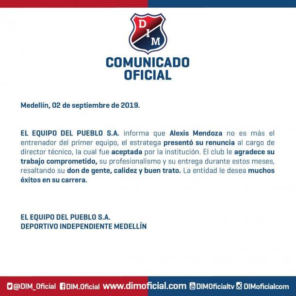 Alexis Mendoza renuncia a la dirección técnica del DIM