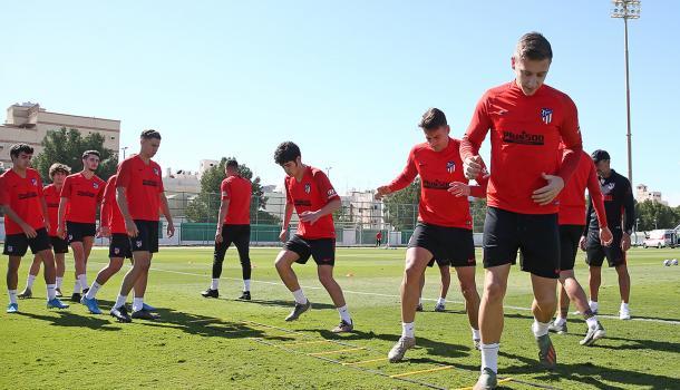 Jugadores del Atlético de Madrid entrenando para la final del domingo. / Fuente: Web Atlético de Madrid