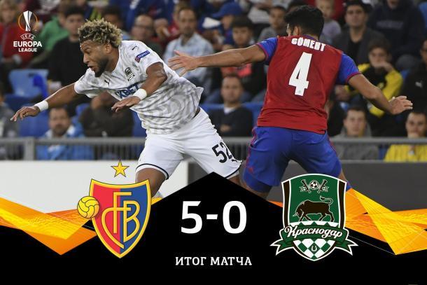 Primera jornada de Europa League entre Basilea y Krasnodar con un abultado resultado en contra de los rusos | Fuente: UEFA