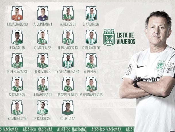 Convocados de Atlético Nacional | Foto: @nacionaloficial en Twitter.