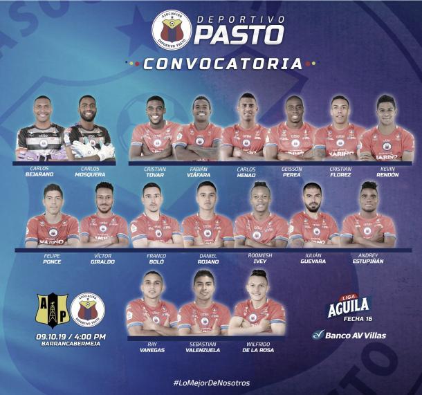 Convocados del Deportivo Pasto   Foto: @DeporPasto en Twitter.