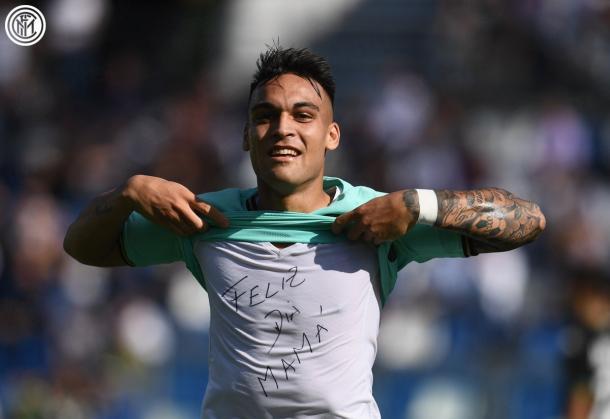 Lautaro dedica el gol a su señora madre / Foto: Twitter oficial Inter