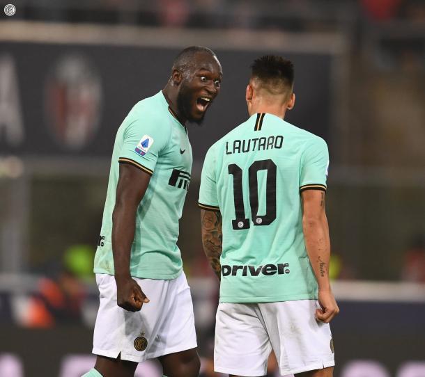 La dupla goleadora del Inter, Lukaku y Lautaro / Foto: Twitter oficial Inter