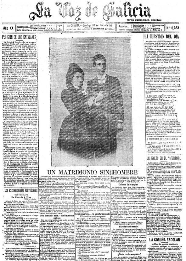 Portada de la Voz de Galicia sobre el matrimonio de Elisa y Marcela | eldiario.es