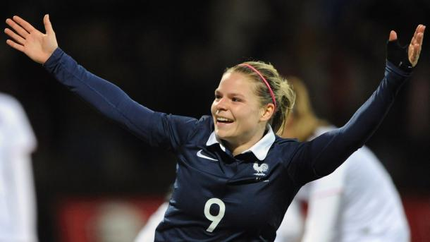 Le Sommer wheels away after scoring one of her many goals in 2015. (Image credit: FIFA)