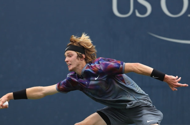 Photo: Elsa/Getty Images- Andrey Rublev did the damage with his forehand.