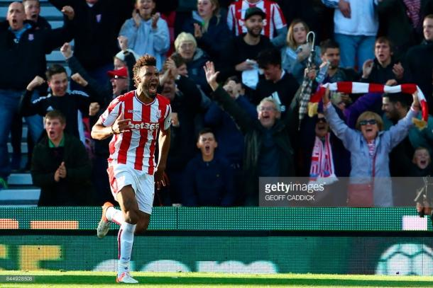 Choupo-Moting celebrates his first of the day. Source | Getty Images.