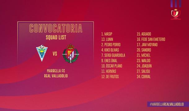Convocatoria del Real Valladolid | Real Valladolid