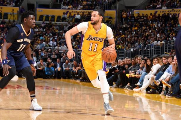 A lot of competition in the Lakers backcourt will have Ennis fighting for minutes. Photo: Andrew D. Bernstein/Getty Images