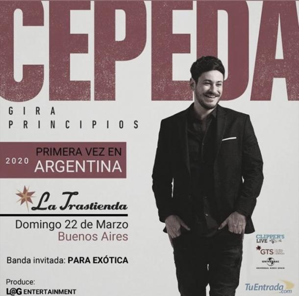 Cartel promocional concierto Cepeda en La Trastienda | Fuente: Twitter Luis Cepeda