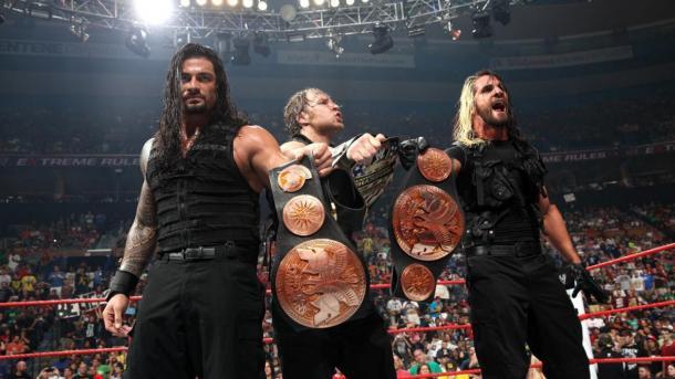 The Shield como Tag Team Champions y United States Champion. Foto: wwe.com
