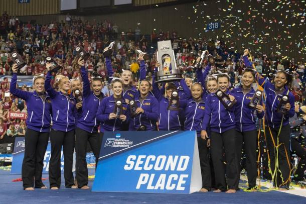 The LSU Tigers celebrate their historic second place finish at the NCAA Women's Gymnastics Championships/LSU Sports