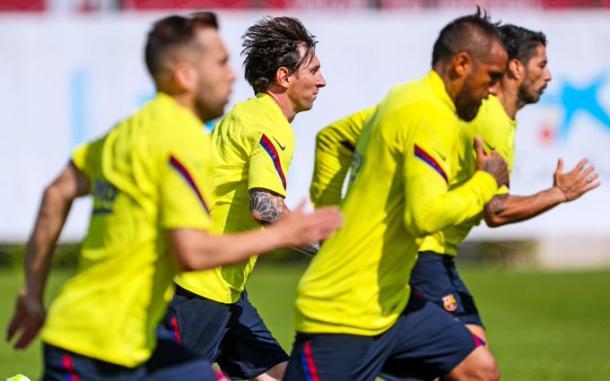 La plantilla del Barça entrenandose de cara al partido ante el Mallorca|Fuente: FC Barcelona