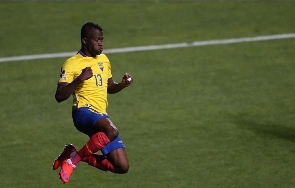 Enner Valencia of Ecuador celebrates after scoring the second goal of his team during the 2015 Copa America Chile Group A match between Mexico and Ecuador at El Teniente Stadium on June 19, 2015 | Carlos Vera - LatinContent/Getty Images