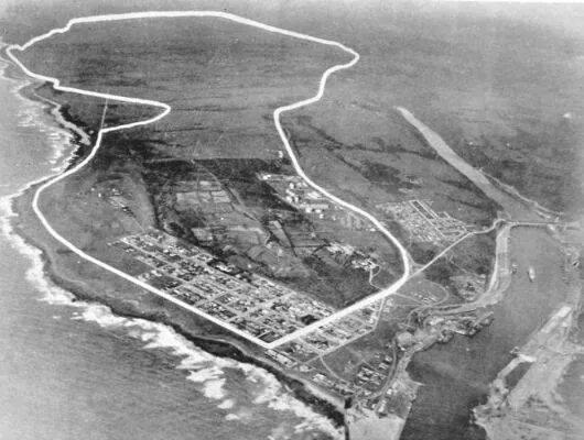 Vista aérea do circuito de East London, que sediu a prova de 1º de janeiro de 1965 (Foto: Divulgação/Border Motorsport Club)